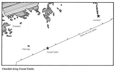 Området där ubåtsjakten bedrevs i juni 1988. Bild ur SOU 2001:85.